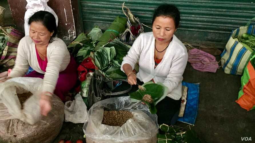 A stall owner in a market in Gangtok city in India's northeast wraps fermented soya beans in a leaf, one of the alternates used in place of plastic for packaging. (A. Pasricha/VOA)