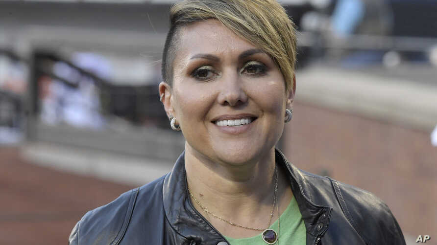 Deidre Pujols, wife of L A. Angels' star Albert Pujols and creator of Strike Out Slavery, got involved after learning about modern-day slavery. Pujols was honored before a baseball game with the host N.Y. Mets, June 8, 2019.