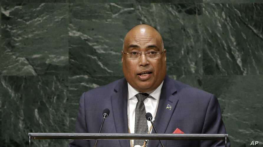 FILE - Solomon Islands Ambassador to the United Nations Collin Beck speaks during a session of the United Nations General Assembly at U.N. headquarters, Sept. 30, 2014.