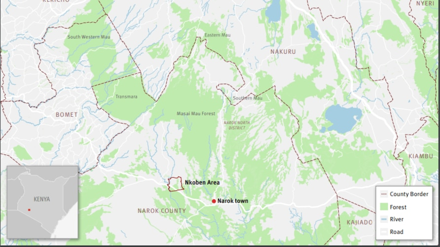 Map of the Mau forest. The Nkoben area, on the Maasai Mau side of the forest, was the site of forceful evictions in 2018. (John