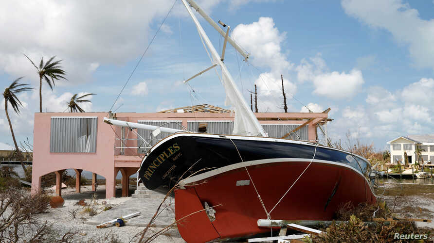A stranded sailboat is seen after Hurricane Dorian hit the Abaco Islands in Treasure Cay, Bahamas, Sept. 7, 2019.