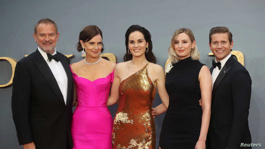 Actors Hugh Bonneville, Elizabeth McGovern, Michelle Dockery, Laura Carmichael and Allen Leech attend the world premiere of Downton Abbey in London, Britain, Sept. 9, 2019.