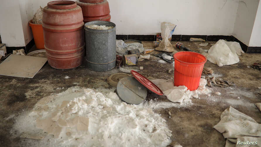 Chemicals used by Islamic State militants to produce bombs are seen inside a warehouse at a church in the town of Qaraqosh, south of Mosul, Iraq, April 12, 2017.