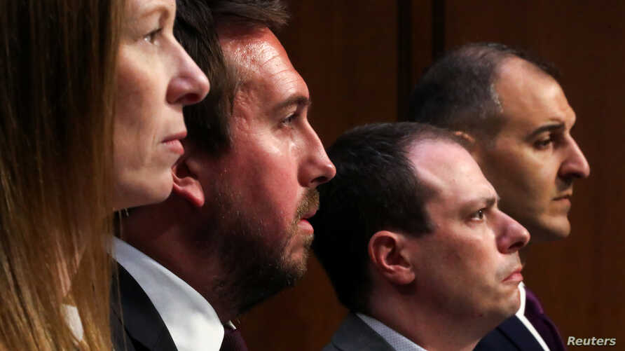 Facebook head of Global Policy Management Monika Bickert, Twitter Public Policy Director Nick Pickles, Google Director of Information Derek Slater and Anti-Defamation League  Senior VP George Selim testify  about social media platforms, Sept. 18, 2019.