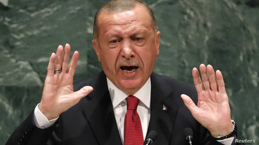 Turkey's President Recep Tayyip Erdogan addresses the 74th session of the United Nations General Assembly at U.N. headquarters in New York City, Sept. 24, 2019.