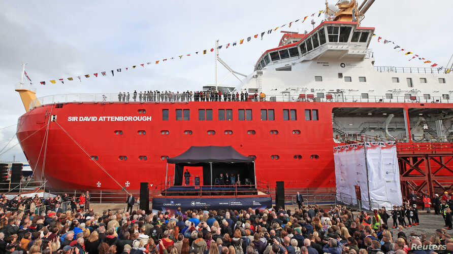 Crowds gather for the naming ceremony of the polar research ship RRS Sir David Attenborough at Cammell Laird shipyard in Birkenhead, Britain, Sept. 26, 2019.