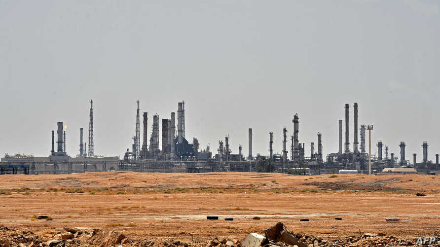 A picture taken on Sept. 15, 2019 shows an Aramco oil facility near al-Khurj area, just south of  Riyadh.