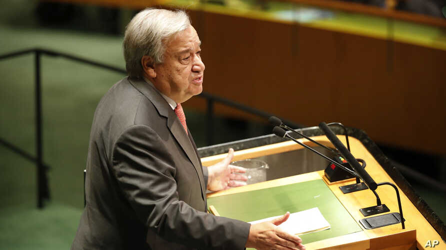 United Nations Secretary-General Antonio Guterres addresses the 74th session of the United Nations General Assembly at U.N. headquarters, Sept. 24, 2019.
