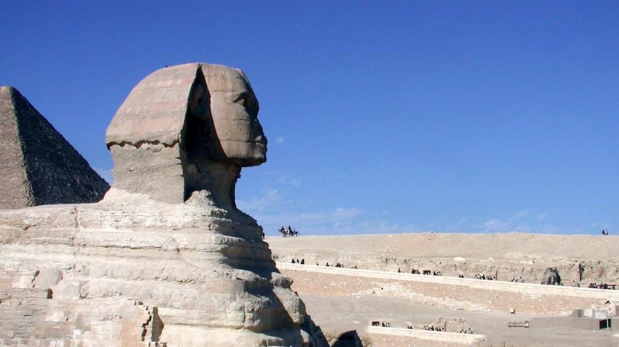 Sphinx, Abul Hawl in Arabic, the enormous statue with a man's head and a lion's body standing guard over the pyramids in Giza, outside Cairo, Egypt. (Photo: Diaa Bekheet)