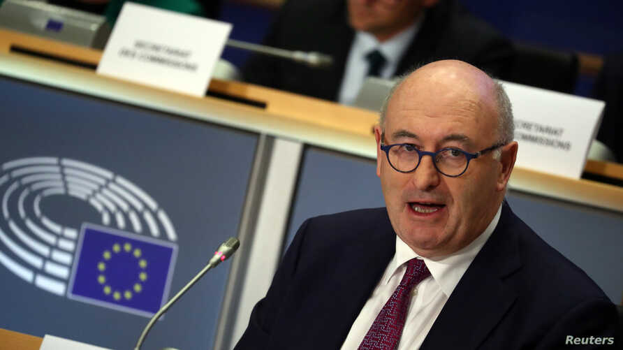 European Trade Commissioner-designate Phil Hogan of Ireland speaks as he attends his hearing before the European Parliament in Brussels, Belgium, Sept. 30, 2019.
