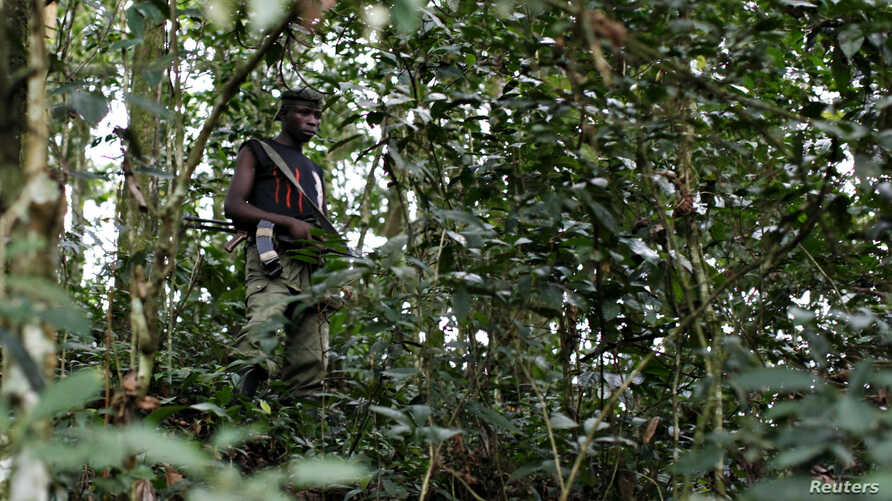 FILE - A fighter from the FDLR rebel group, which is being hunted by the Rwandan and Congolese armies, stands guard deep in the bush of eastern Congo, Feb. 6, 2009.