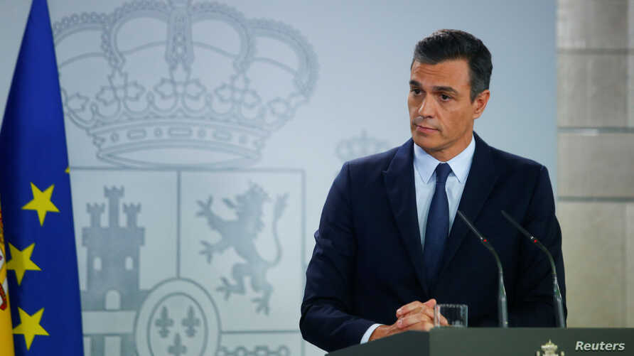 Spain's acting Prime Minister Pedro Sanchez during a press conference at the Moncloa Palace in Madrid, Sept. 17, 2019.