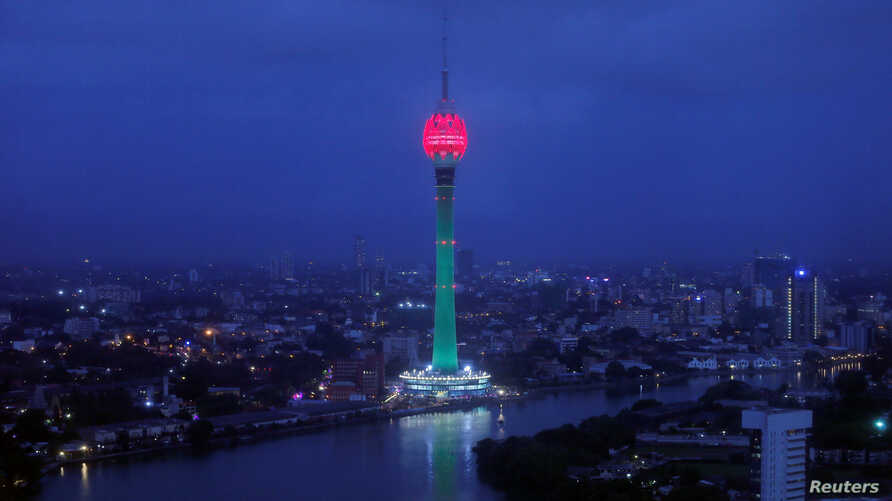 The Lotus Tower, the tallest tower in South Asia in shape of a 356-meter lotus and built with Chinese funding, is seen during its launching ceremony in Colombo, Sri Lanka, Sept. 16, 2019.