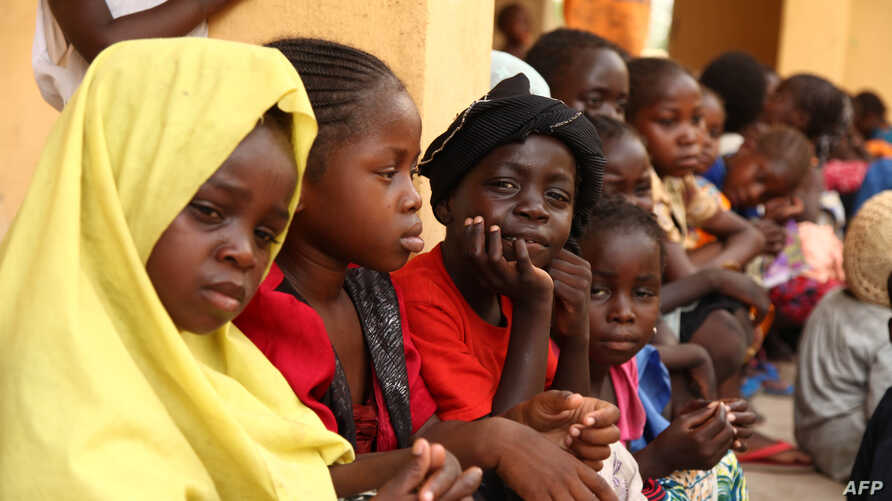 FILE - Children rescued by Nigerian soldiers from Islamist group Boko Haram are seen at a refugee camp in Yola, May 5, 2015.