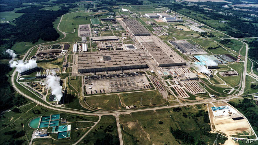 FILE - This undated file photo shows the large uranium plant in Piketon, Ohio. U.S. uranium mining companies and nuclear power…