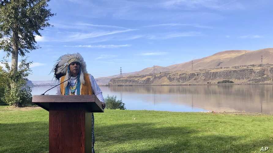 JoDe Goudy, chairman of the Yakama Nation, speaks with the Columbia River in the background near The Dalles, Oregon, on Monday,…