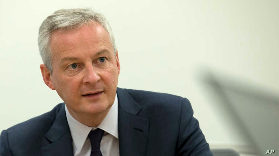 French Finance Minister Bruno Le Maire speaks during a news conference on the side lines of the World Bank/IMF Annual Meetings…