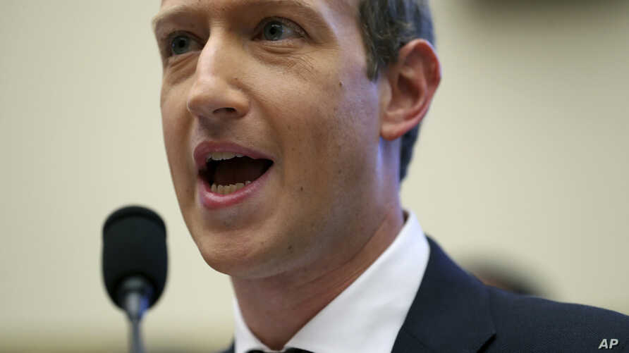 Facebook CEO Mark Zuckerberg testifies before a House Financial Services Committee hearing on Capitol Hill in Washington, Oct. 23, 2019, on Facebook's impact on the financial services and housing sectors.