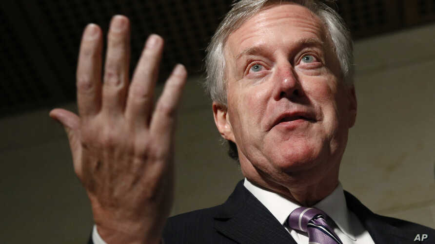 Rep. Mark Meadows, R-N.C., speaks to reporters after former deputy national security adviser Charles Kupperman signaled that he would not appear as scheduled for a closed door meeting to testify as part of the House impeachment inquiry, Oct. 28, 2019.