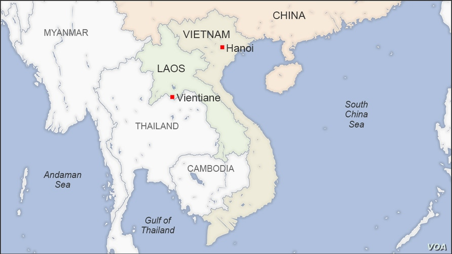 Map of Laos and Vietnam, showing the capitals of Vientiane and Hanoi, respectively