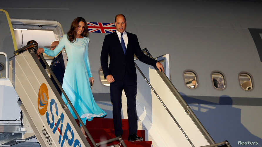 Britain's Prince William and Catherine, Duchess of Cambridge, arrive in Islamabad, Pakistan October 14, 2019. REUTERS/Peter…