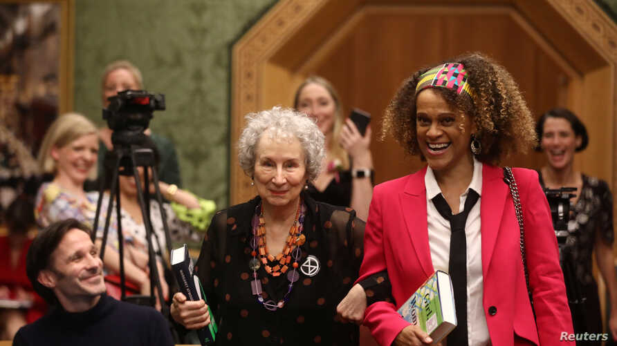 Margaret Atwood and Bernardine Evaristo jointly win the Booker Prize for Fiction 2019 at the Guildhall in London, Britain…