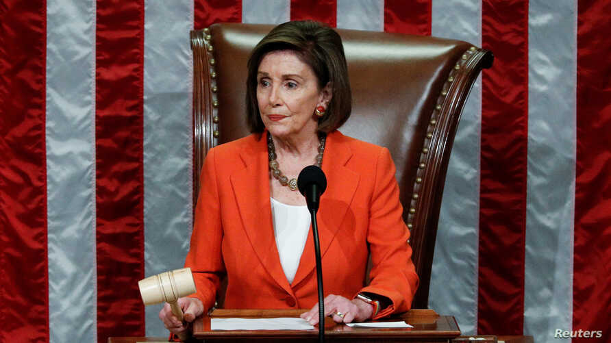 Speaker of the House Nancy Pelosi wields the gavel as she presides over the U.S. House of Representatives vote