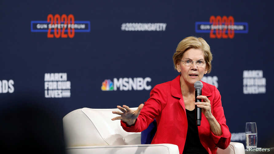 U.S. Democratic presidential candidate Senator Elizabeth Warren (D-MA) responds to a question during a gun safety forum in Las Vegas, Nevada, Oct. 2, 2019.