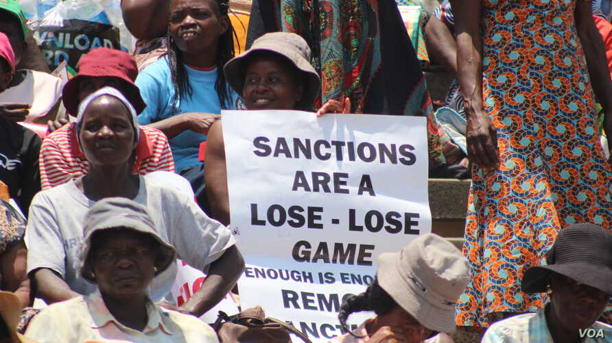 Zimbabweans march against targeted sanctions on the country's leadership, in Harare, Oct. 25, 2019. (Columbus Mavhunga/VOA)