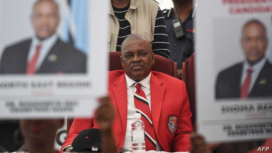 FILE - Botswana's President Mokgweetsi Eric Keabetswe Masisi looks on as he is re-elected president of the Botswana Democratic Party (BDP) during an extraordinary congress on April 5, 2019, in Kang, Botswana.