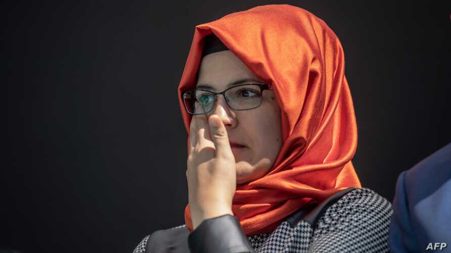 Hatice Cengiz, the fiancee of Jamal Khashoggi, attends an event marking the one-year anniversary of his killing, in Istanbul, Turkey, Oct. 2, 2019.