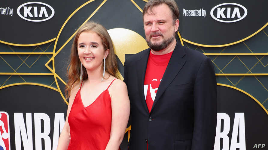 FILE - General Manager of the Houston Rockets Daryl Morey (R) and Ellen Morey attend the 2019 NBA Awards presented by Kia on TNT at Barker Hangar, in Santa Monica, California, June 24, 2019.