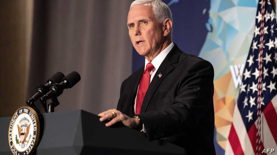 U.S. Vice President Mike Pence speaks on the future of the U.S. relationship with China at the Wilson Center in Washington, Oct. 24, 2019.