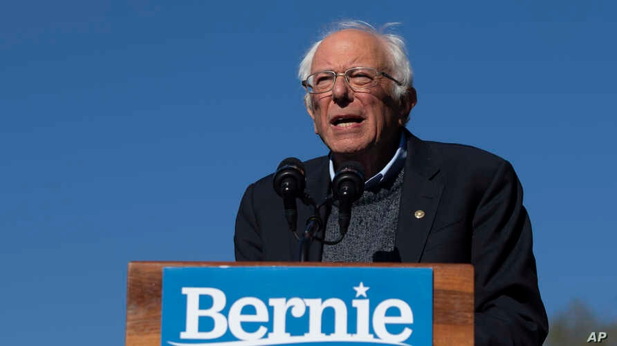 Democratic presidential candidate Sen. Bernie Sanders, I-Vt., speaks to supporters during a rally, Oct. 19, 2019, in New York.