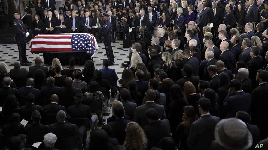 The flag-draped casket of Rep. Elijah Cummings is seen during a memorial service for the late congressman at the Capitol, in Washington, Oct. 24, 2019.