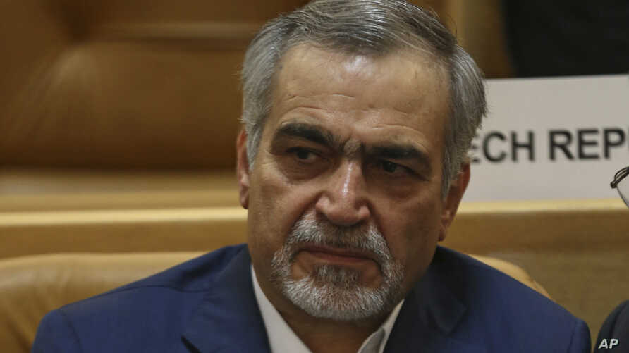 FILE - Hossein Fereidoun, brother of Iranian President Hassan Rouhani is seen at a conference in Tehran, Iran, July 3, 2017.