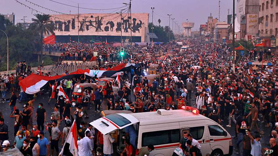 Anti-government protesters gather in Tahrir Square during a demonstration in Baghdad, Iraq, Oct. 28, 2019.