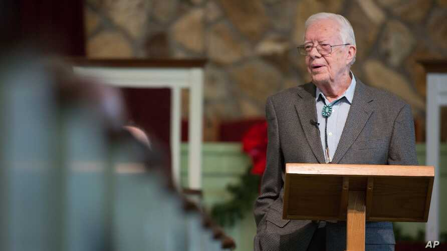 FILE - Former President Jimmy Carter teaches Sunday school at Maranatha Baptist Church in his hometown in Plains, Ga., Dec. 13, 2015.