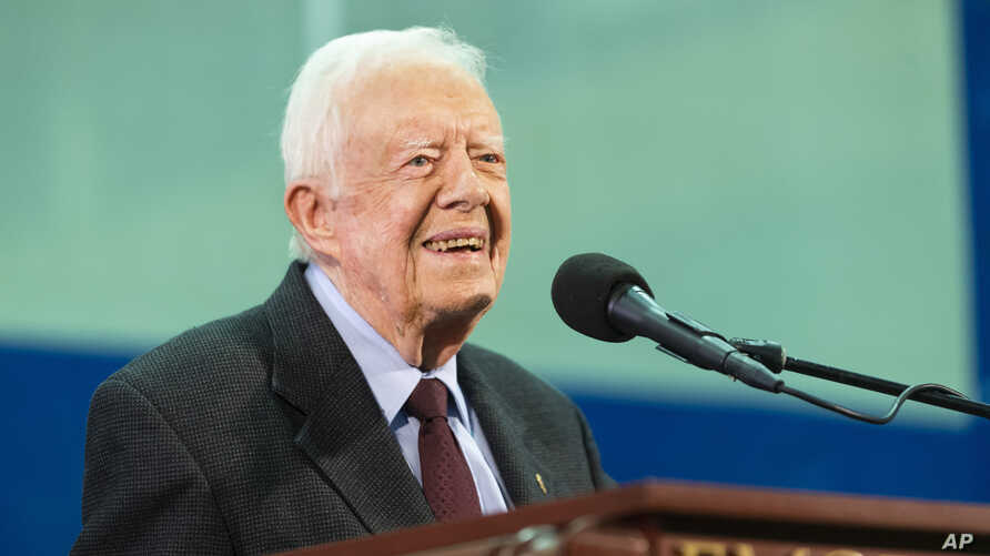 Former President Jimmy Carter answers questions submitted by students during an annual Carter Town Hall held at Emory University, Sept. 18, 2019, in Atlanta.