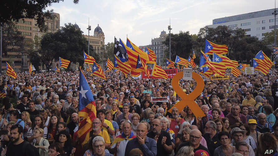 Thousands of secession supporters march during a demonstration in Barcelona, Spain, Oct. 1, 2019.