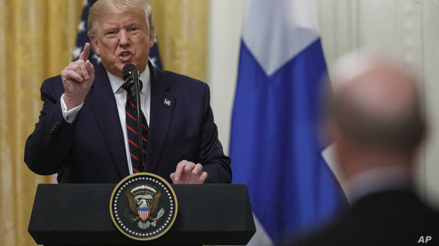 President Donald Trump speaks during a news conference with and Finnish President Sauli Niinisto (not pictured) at the White House in Washington, Oct. 2, 2019.