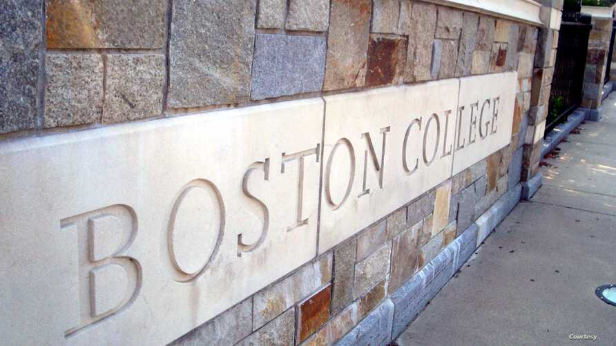 FILE - The Boston College sign, September 2015.