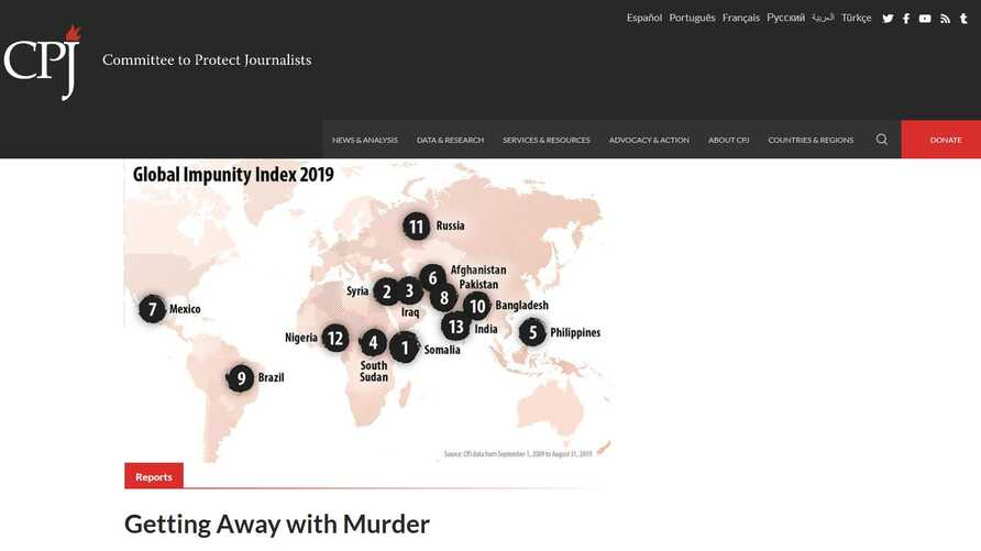 A screenshot of CPJ Web site showing a map of the 2019 Global Impunity Index  by the Committee to Protect Journalists, spotlighting countries where journalists are slain and their killers go free, Oct. 29, 2019.