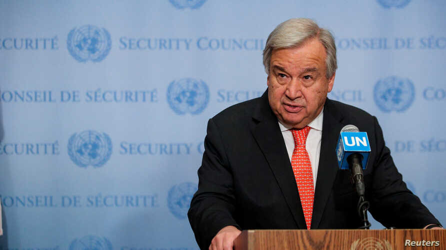 FILE - United Nations Secretary General Antonio Guterres speaks at the Security Council stakeout at the U.N. headquarters in New York, Aug. 1, 2019.