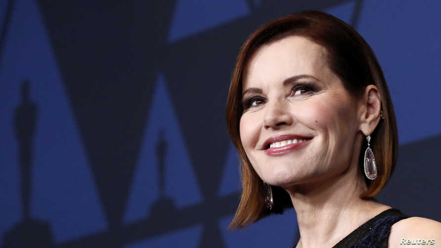 Geena Davis arrives at the 2019 Governors Awards in Hollywood, California, Oct. 27, 2019.