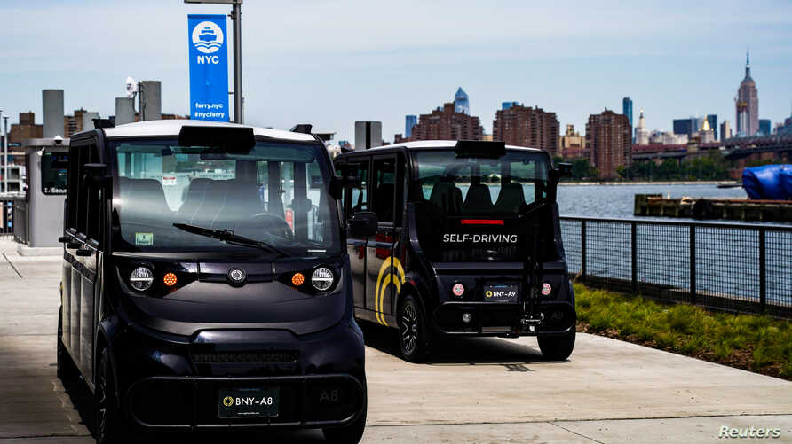 FILE - Optimus Ride launches a self-driving car at the Brooklyn Navy Yard in the Brooklyn borough of New York City, Aug. 5, 2019.