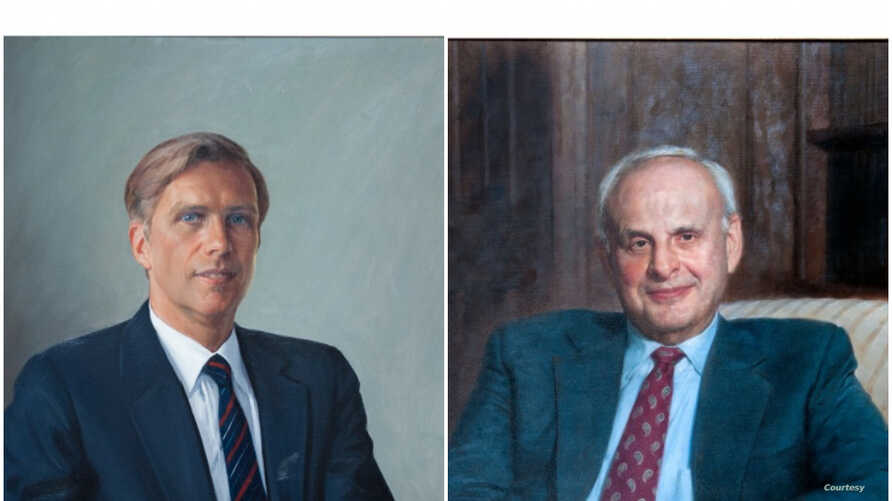 A combination of portraits shows long-time U.S. diplomats and friends Winston Lord (L) and Leslie Gelb. (Courtesy - Council on Foreign Relations)