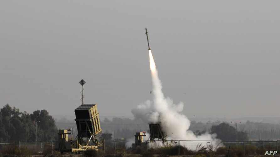 An Israeli missile launched from the Iron Dome defence missile system, designed to intercept and destroy incoming short-range…