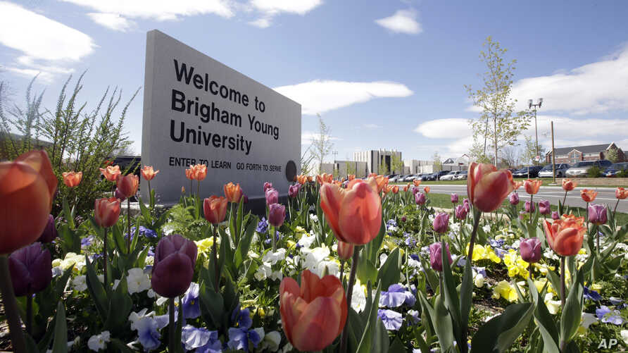 FILE - This April 19, 2016, file photo, shows a welcome sign to Brigham Young University in Provo, Utah. Brigham Young…