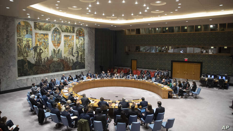 FILE - The Security Council meets at United Nations headquarters in New York.